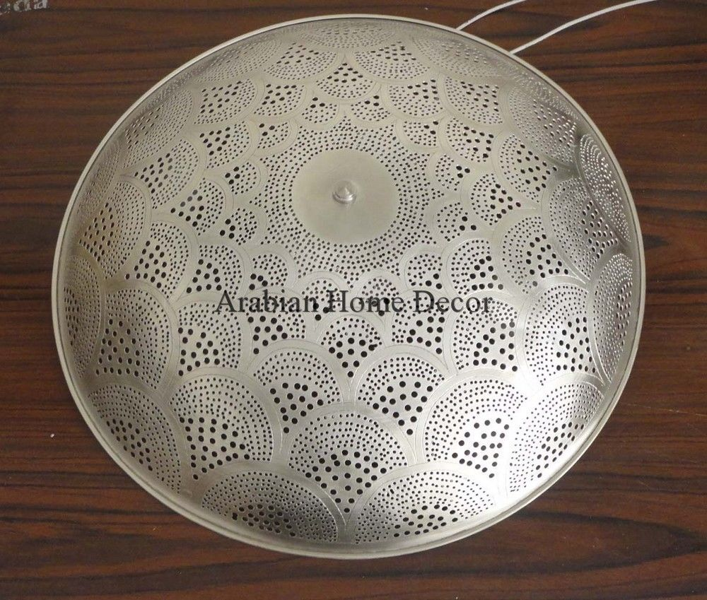 Handcrafted moroccan silver plated brass flush mount ceiling light handcrafted moroccan silver plated brass flush mount ceiling light fixture lamp arubaitofo Choice Image