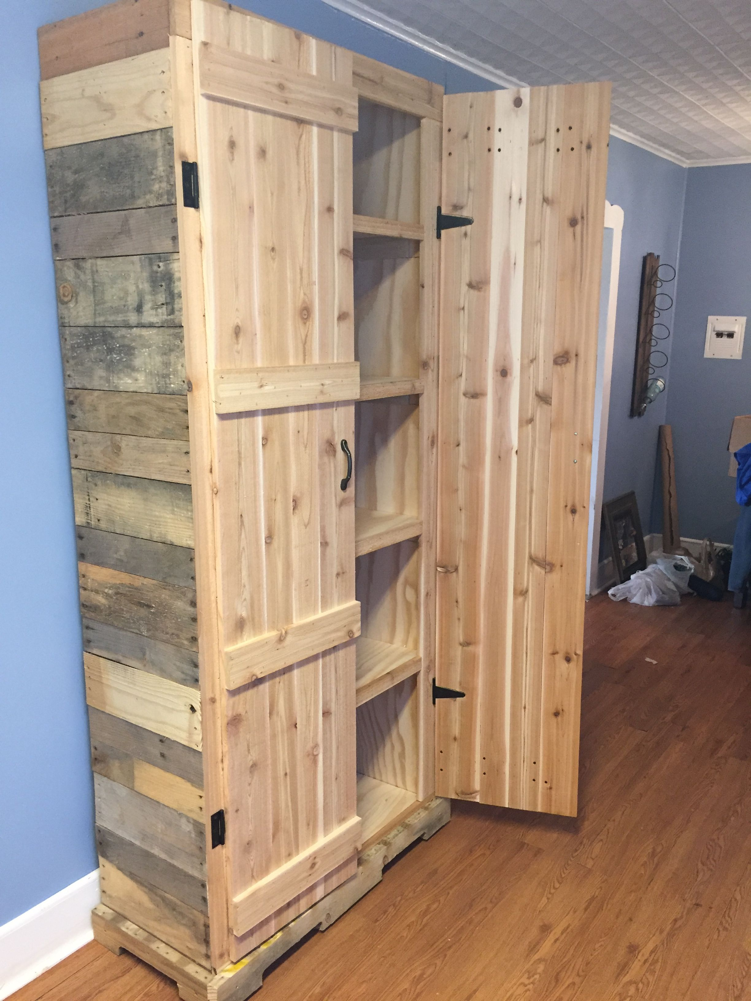 Pallet pantry ~ I want to make this for my garage for extra storage making  more room in my hall closet
