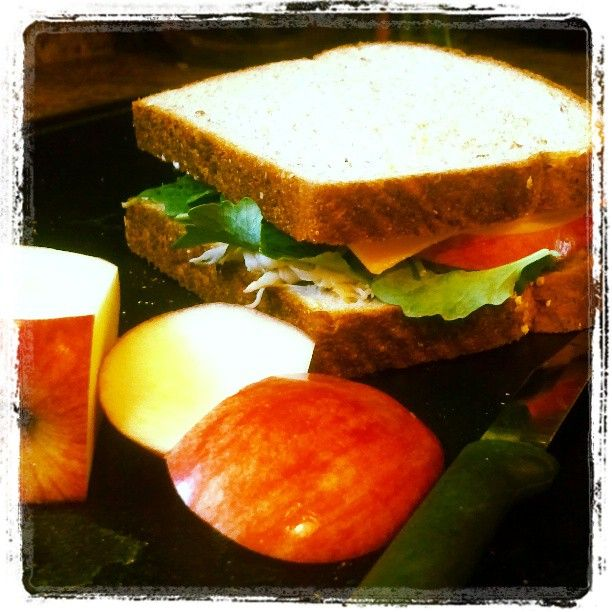 Turkey, baby kale, sharp cheddar and apple on whole wheat bread. Willfully Disobedient   because behaving is boring