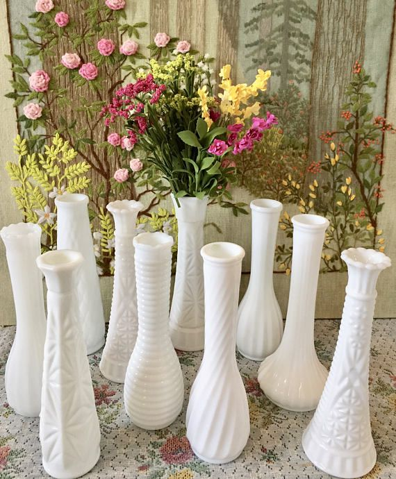 10 Milk Glass Vases Wedding Centerpiece Vases Wedding Vases