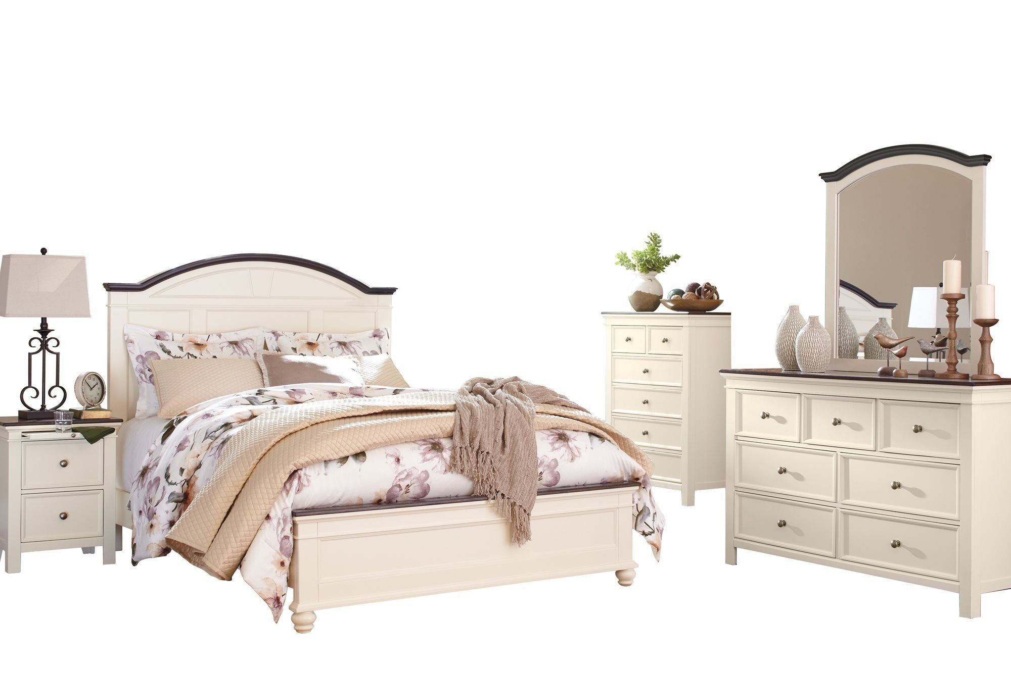 Ashley Woodanville 5pc Bedroom Set Cal King Panel Bed Dresser Mirror One Nightstand Chest In