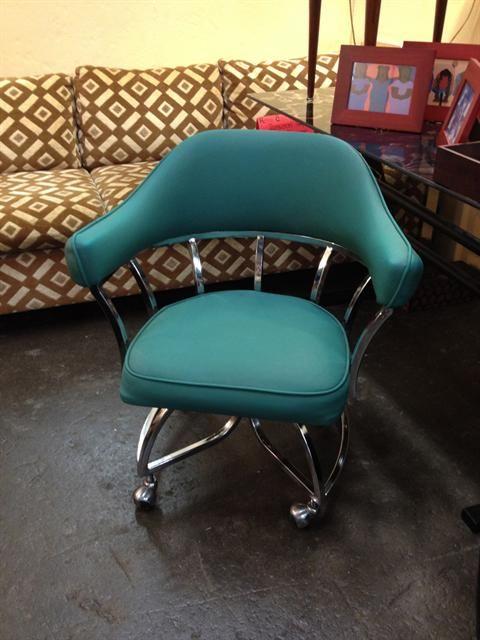 Midcentury modern vinyl and chrome chair on wheels | Vinyl ...