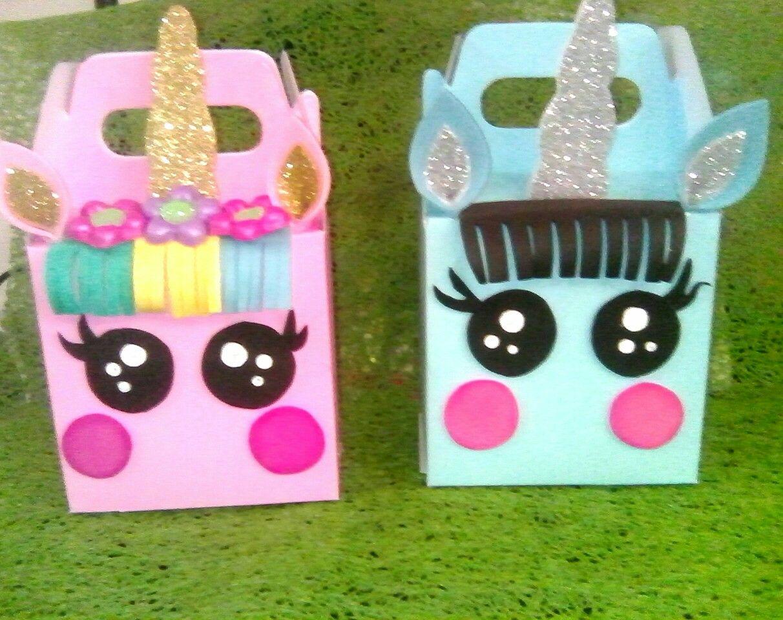 Cajas decoradas motivo unicornio para dulceros fiesta infantil favor manualidades goma eva - Cajas infantiles decoradas ...