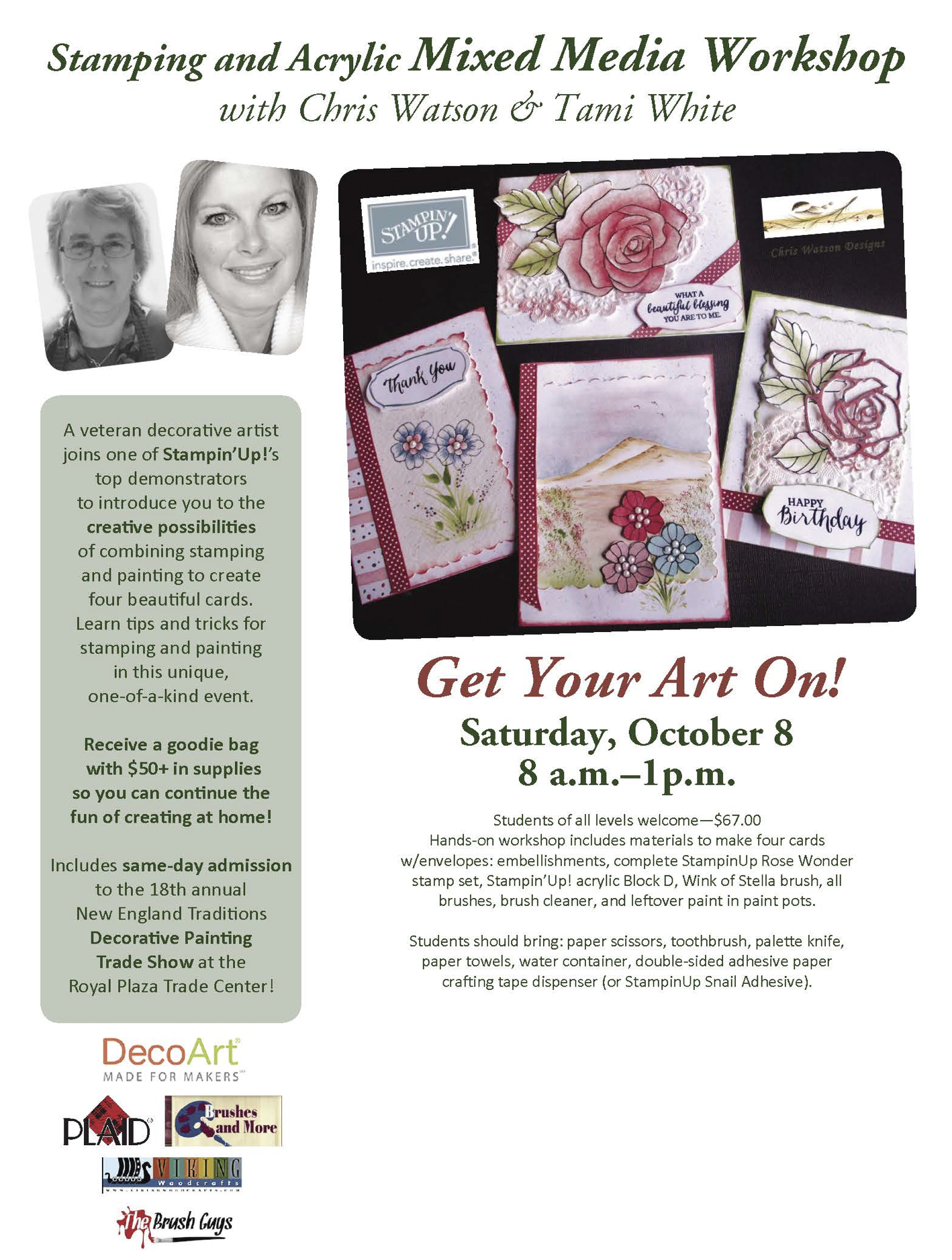 CLASS: Get Your Art on at New England Traditions Convention Oct 8 – space is limited | Stampin Up Demonstrator - Tami White - Stamp With Tami Crafting and Card-Making Stampin Up blog