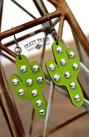 Cactus Kate Earrings - Handmade, Jewelry making, Cactus earrings, Handmade jewelry, Wine bottle diy crafts, Diy jewelry - These sparkly cactus earrings by Crazy Train are perfect for any true Sassy Cactus fan! Lightweight wood cutout cactus is decorated with crystal AB rhinestones   Measures 2  high by 1  long