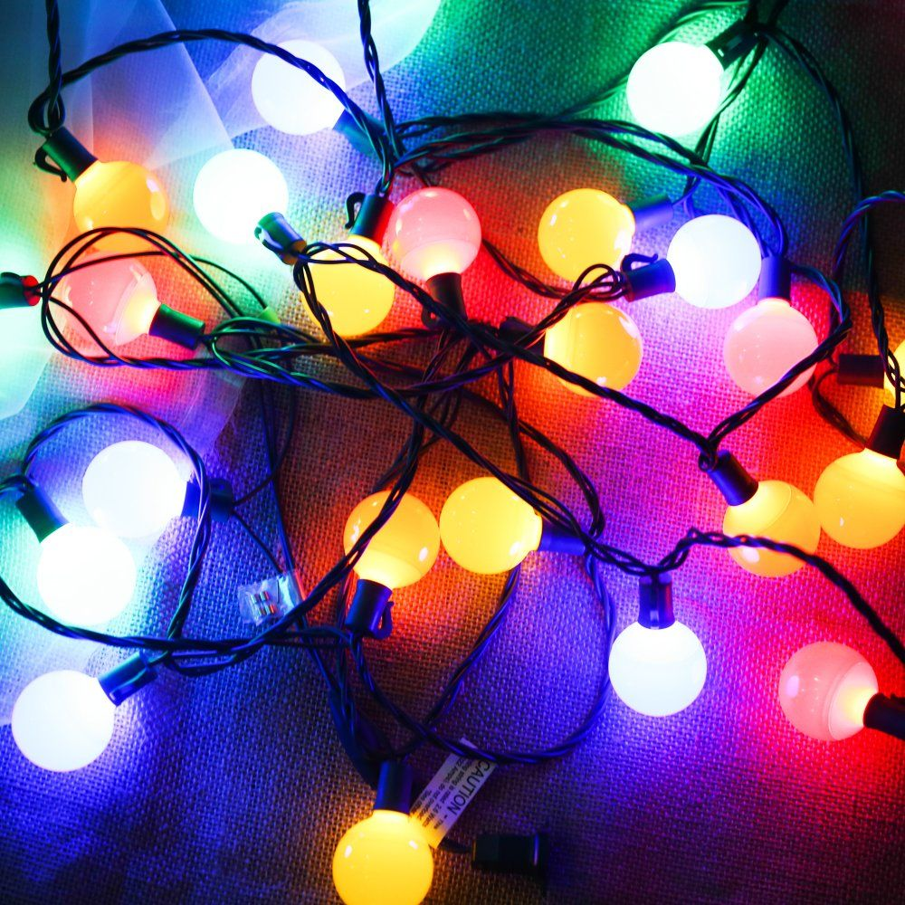 g40 globe decorative string lights coloredlonger life up to hours17 ft 25 led commercial grade christmas lights for indoor outdoor use2 fuses include