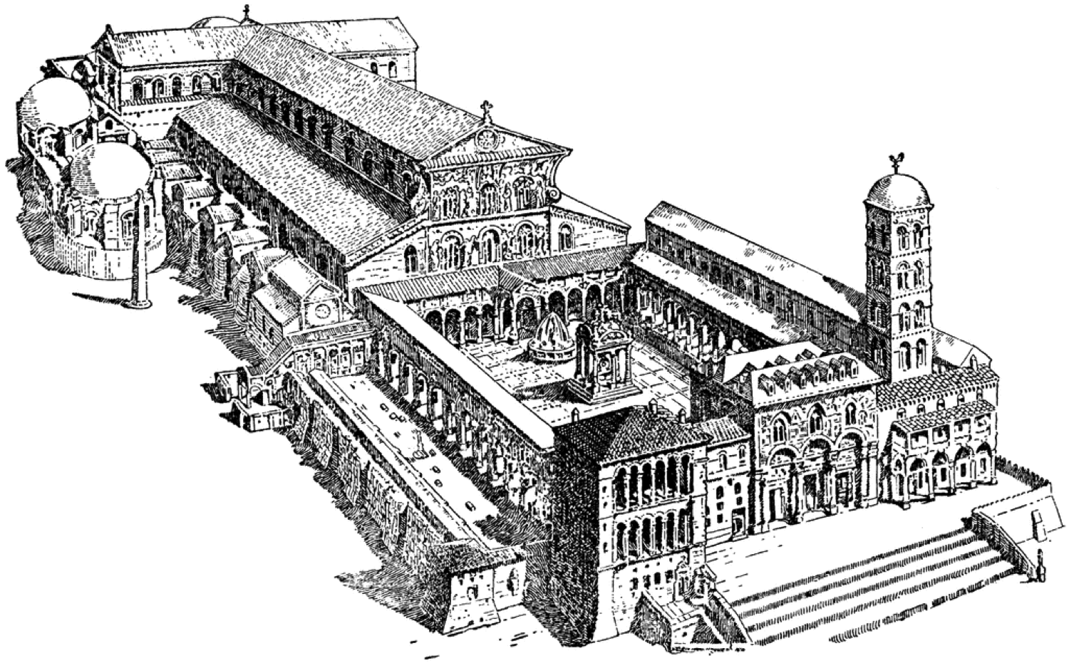 Old St. Peter Basilica. An example of using the Peristyle