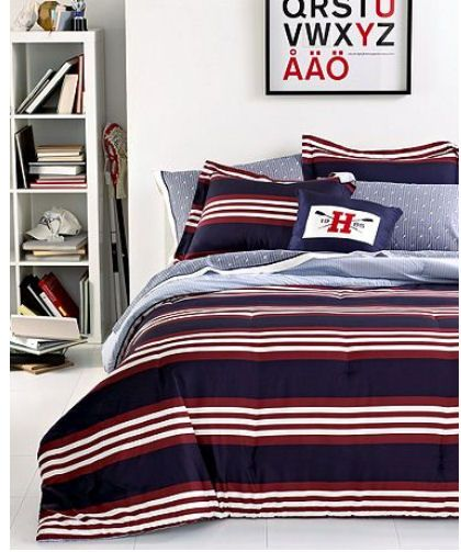 Tommy Hilfiger QUEEN COMFORTER /& SHAMS 3pc SET Ithaca Blue Oxford Stripe NIP