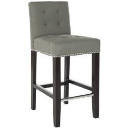 f512433345c  Overstock.com - Safavieh Noho Grey Linen Nailhead Trim Counter Stool -  This beautiful