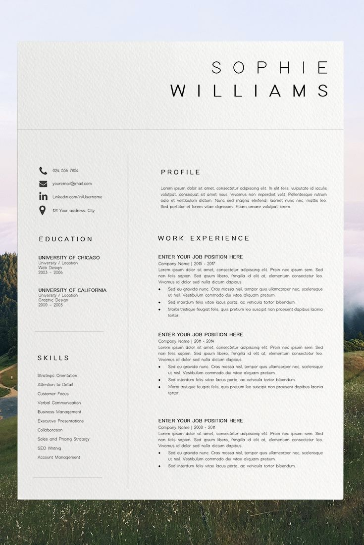 professional resume template instant download  1 page