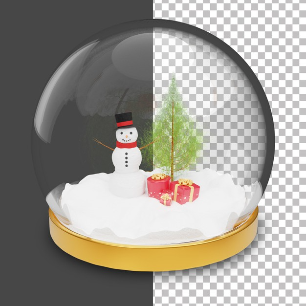3d Snow Globe With Snowman And Christmas Tree Inside Snow Globes Snowman Christmas Tree Christmas Tree