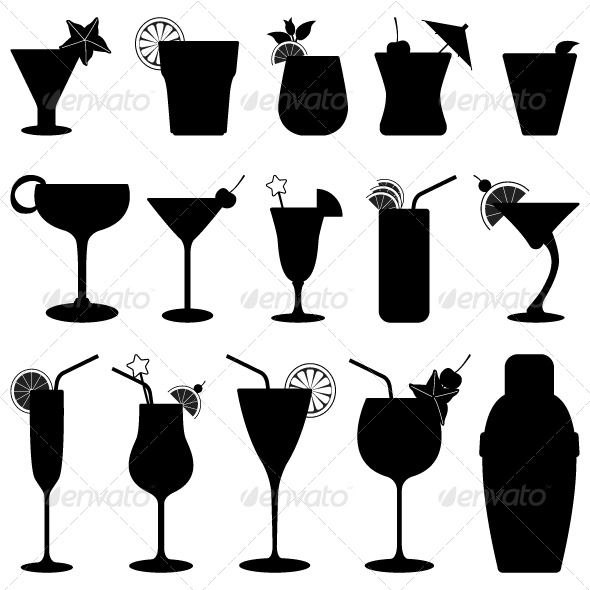 Cocktail Drink Fruit Juice Silhouette | Silhouettes ...