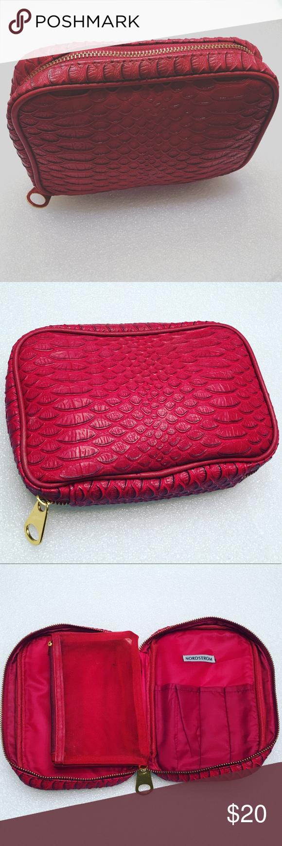 Nordstrom Makeup Bag Leather Red Gold Jumbo Zipper Beautiful Item Bags