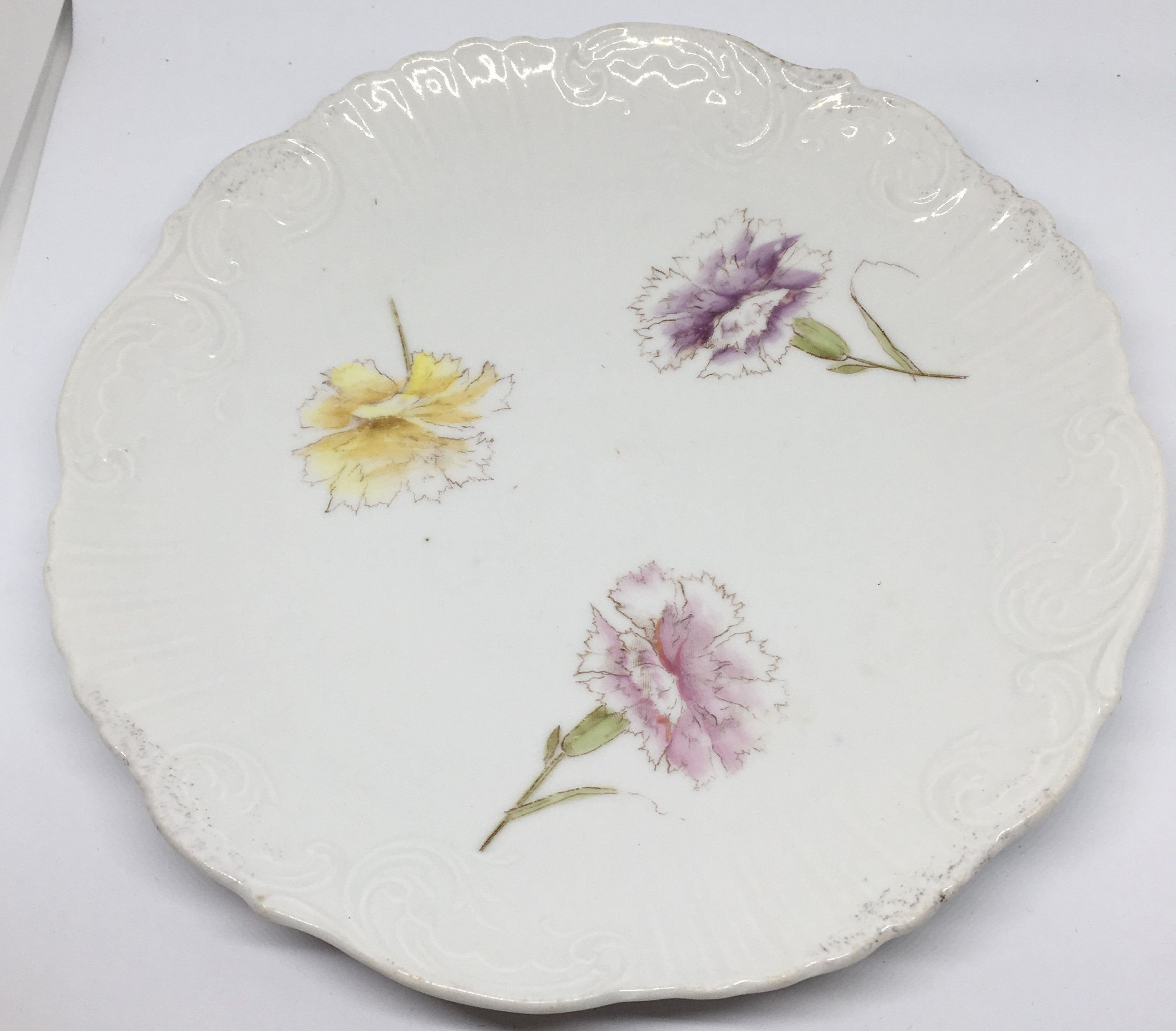 Carlsbad China Knox Floral Salad Plate Made in Austria Dish with Purple Yellow and Pink Carnations  Wall Hanging