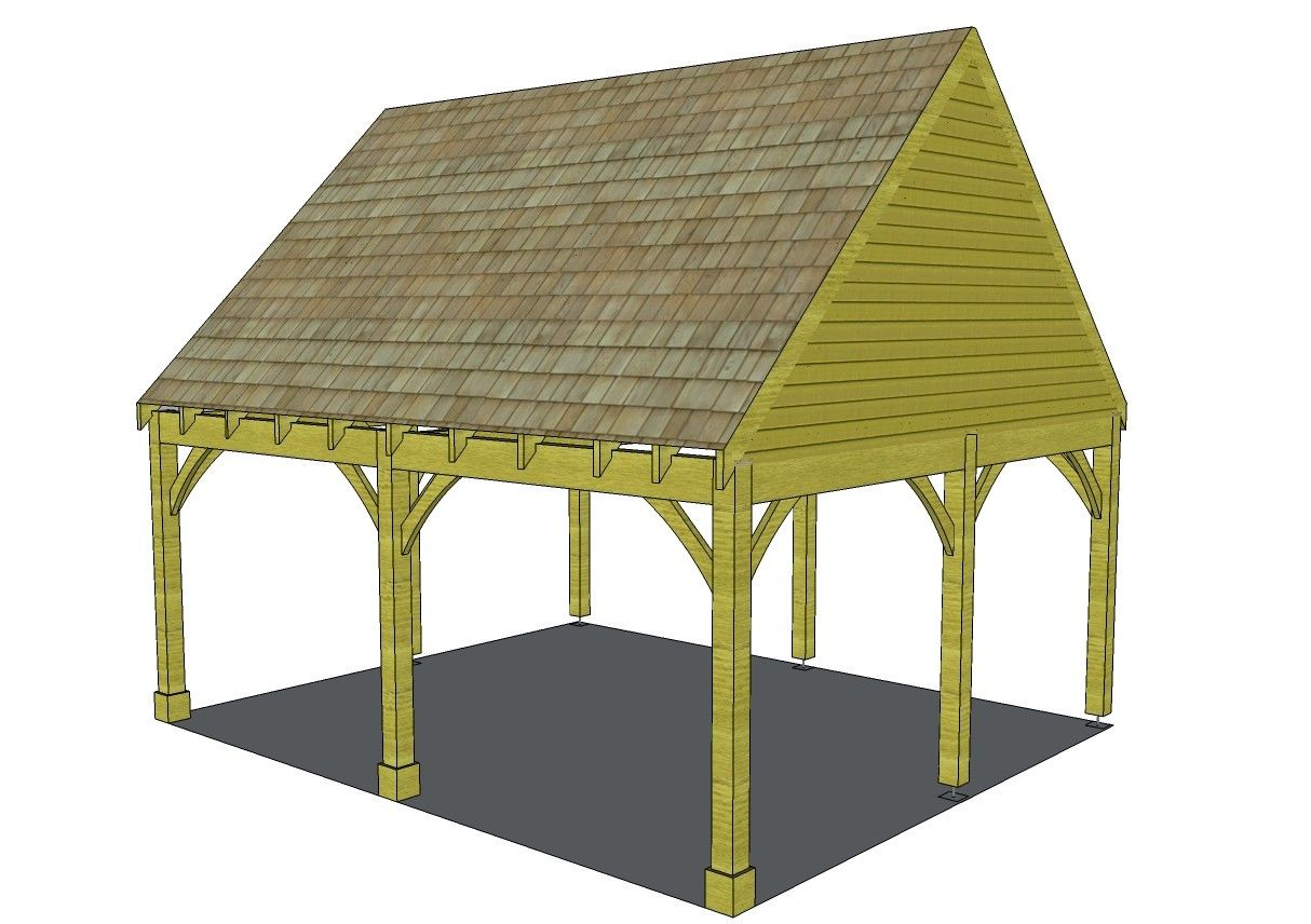 2 Bay Carport with Gable End Room in Roof Shed to tiny
