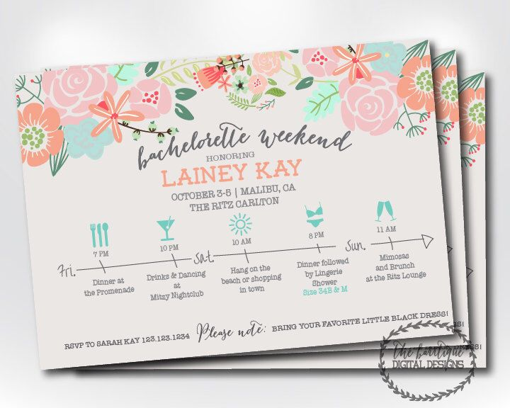 Bachelorette Party Itinerary Invitation Weekend Schedule Timeline Digital