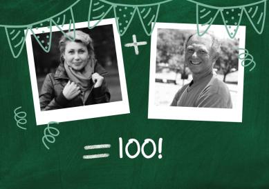 Zusammen 100 Lustige Einladungskarte zum gemeinsamen 100