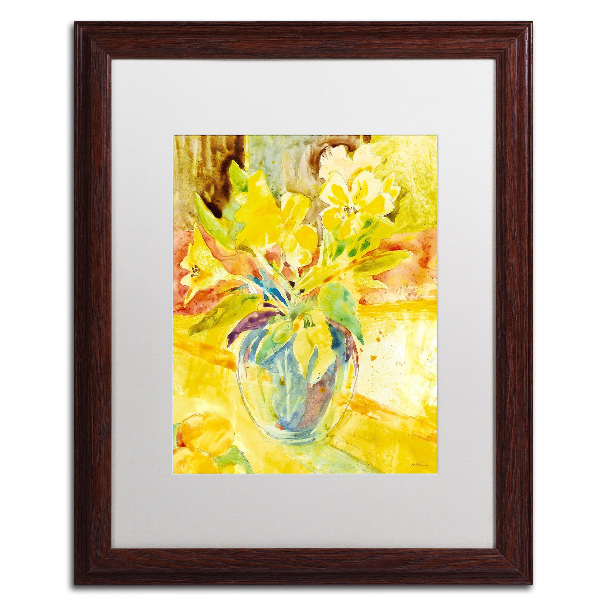 Vase with Yellow Flowers\' by Sheila Golden Framed Painting Print ...