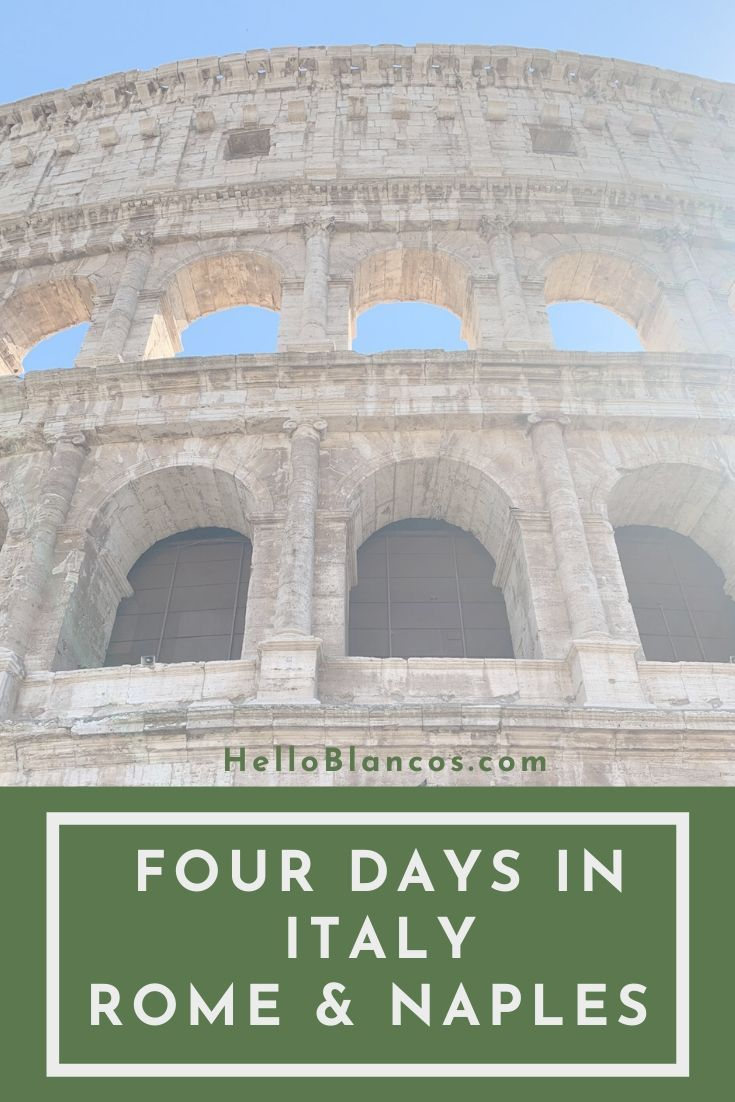 Our four day trip to Italy was amazing. Learn how we traveled to Italy and visited Rome and Naples. Find out the best restaurants and gelato that we found! #travelitaly #WheninRome #cheaptravel #travelEurope
