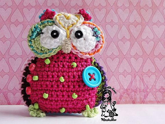 Crochet owl hanger / pendant / ornament - crochet pattern, DIY ...