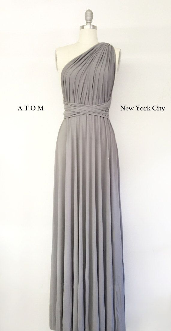 Silver Light Grey LONG Maxi Infinity Dress Gown Convertible Formal ...