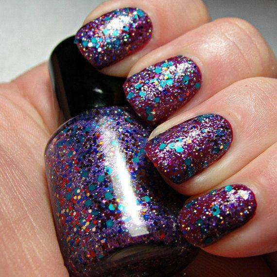 dark purple glitter nail polish shop.wigsbuy.com
