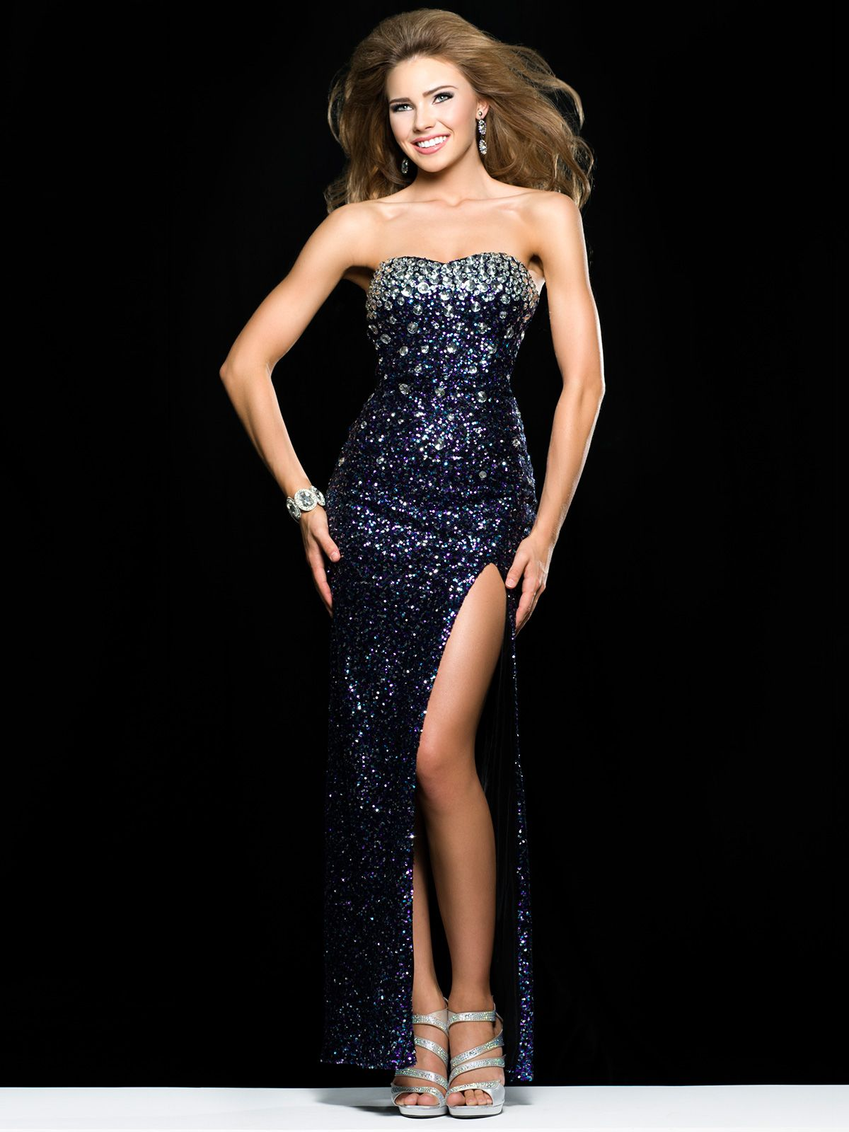 Dazzle everyone in this sparkling clarisse prom dress this all over