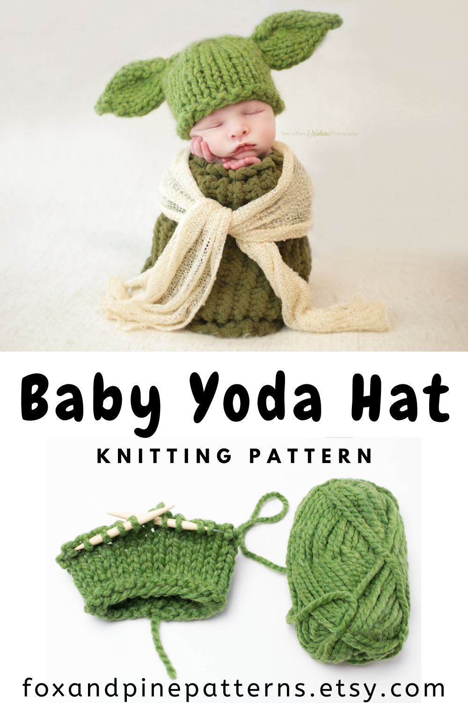 Baby Yoda Hat Knitting Pattern Knit Thick Chunky Wool Ease ...