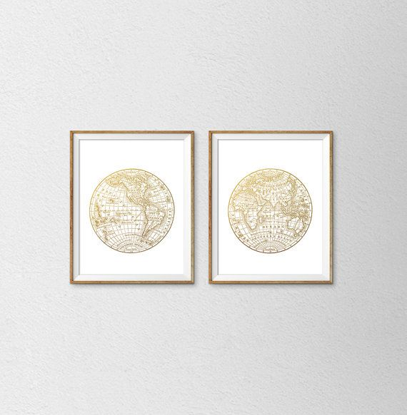 Vintage world map faux gold foil print set set by samssimpledecor vintage world map faux gold foil print set set by samssimpledecor gumiabroncs