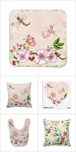 Cherry Blossom Springtime Storybook Illustration