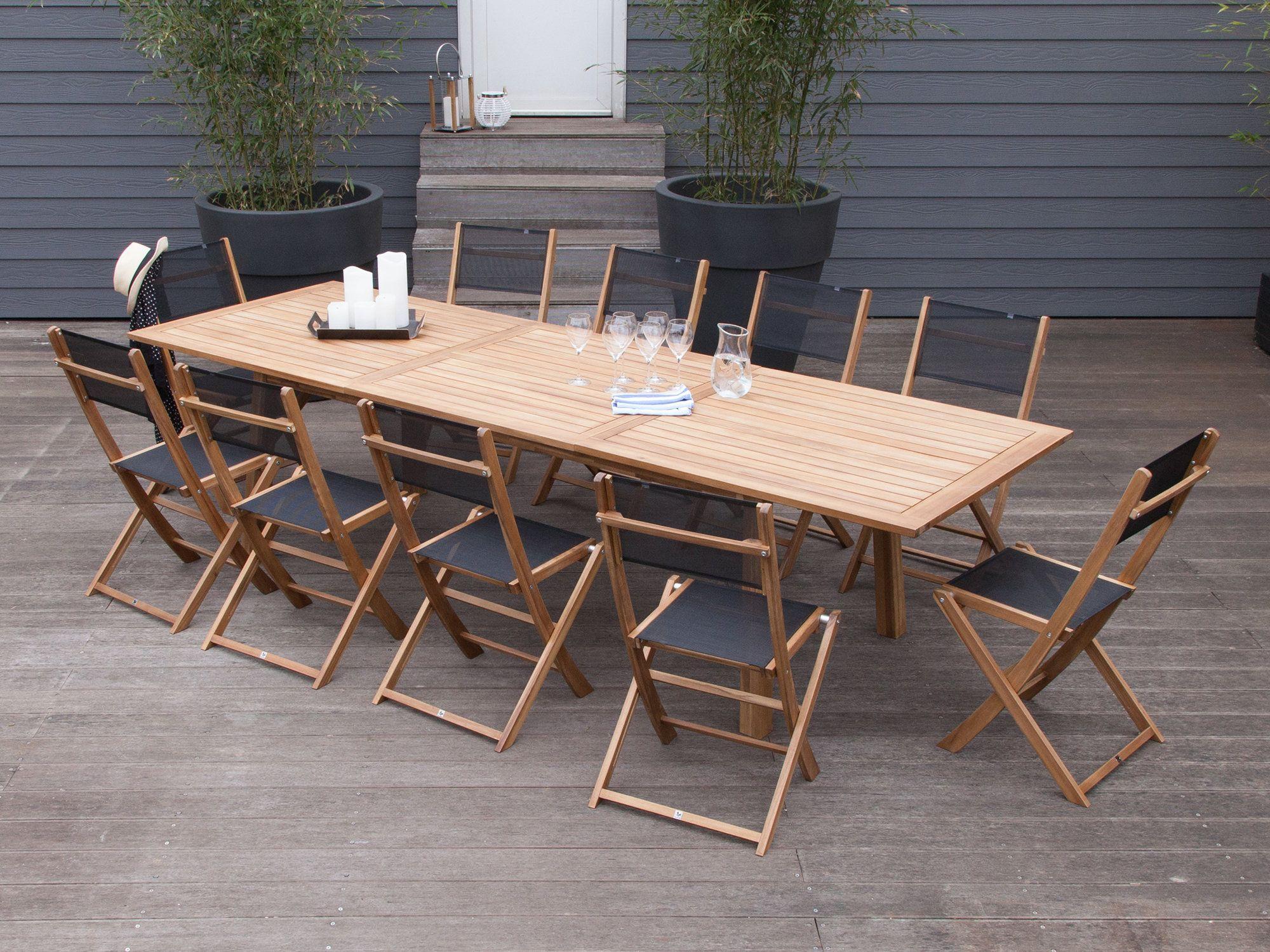 Salon de jardin 10 places 1 table extensible 210 300cm en Acacia