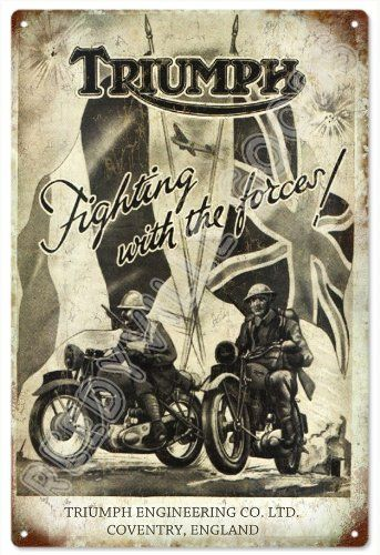 Vintage Looking Old Triumph Motorcycle Fight With The Forces Sign Garage Reproduction Art You Ca Triumph Motorcycles Vintage Motorcycle Posters Triumph Bikes