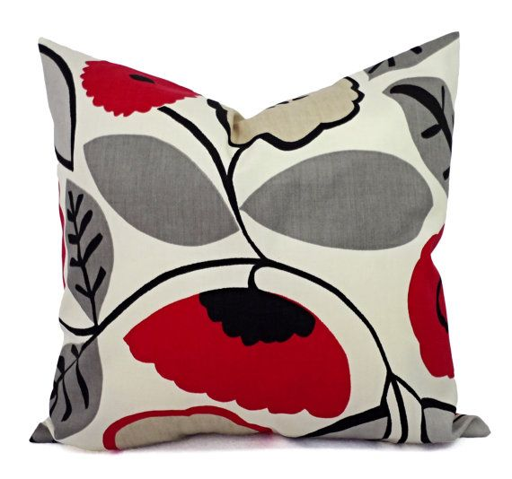 Two 16 X 16 Couch Pillow Covers Red Grey And Black Decorative Throw Pillow Covers Couch Pillow Covers Red Throw Pillows