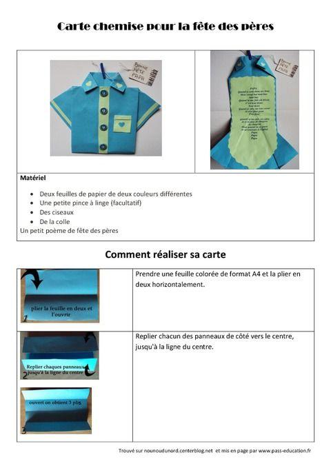 Carte chemise pour la fête des pères \u2013 Arts plastiques \u2013 Ce2 \u2013 Cm1 \u2013 Cm2 , Cycle  3 , Pass Education