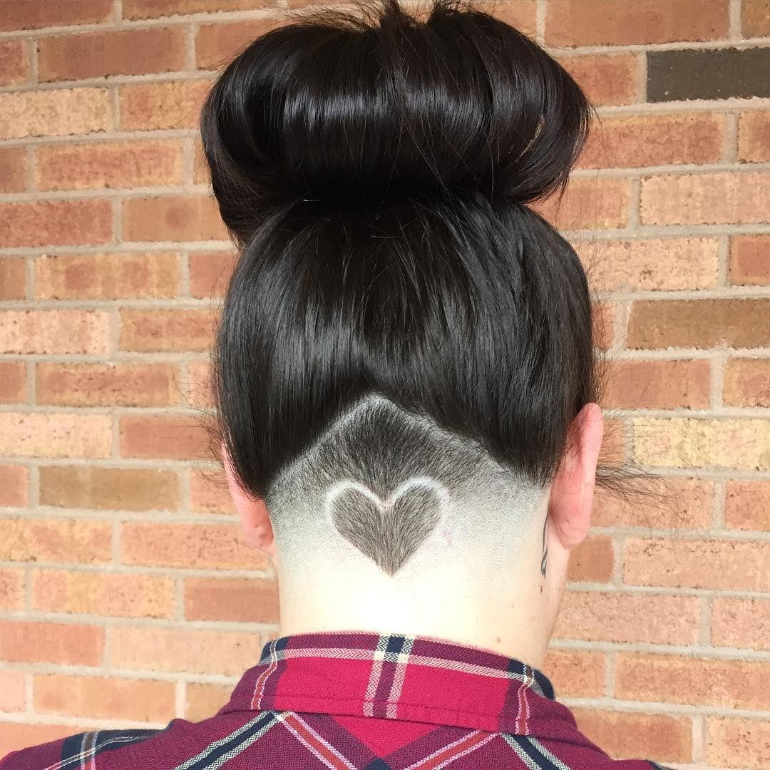 heart in the triangle   hair   undercut long hair, shaved