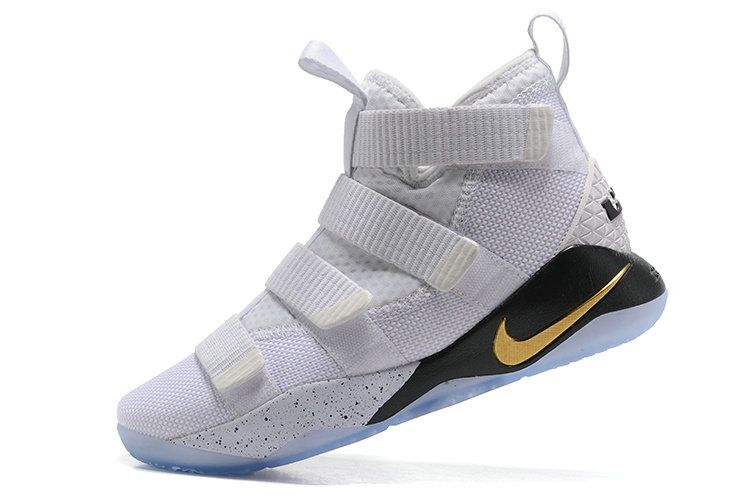 Nike Lebron Amazing James Soldier XI 11 Court General White Black and Gold 897644 101