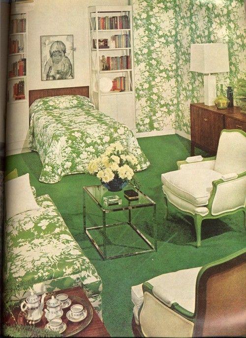 70s-ish Retro Decor in 2018 Pinterest Bedroom, Bedroom green