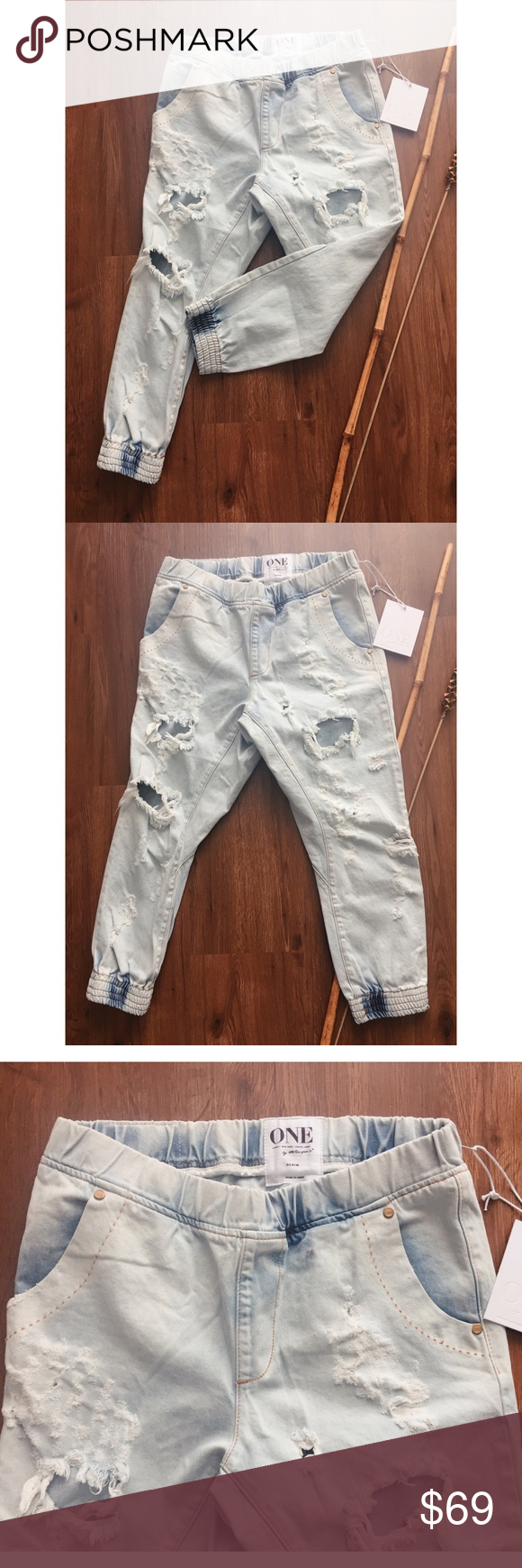 One Teaspoon Dundees Pant Anarchy Sz S Nwt Distressed Elastic Low Drop Waist Size S Is Equal To Size 4 Based On Their Size Ch Pants Clothes Design Oneteaspoon