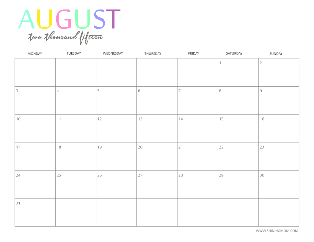 the printable 2015 monthly calendar by shiningmomcom is here