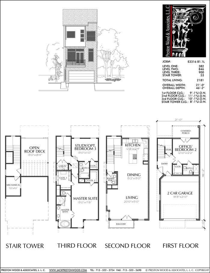 Townhouse Plan E3316 B1 1 Floor plans Townhouse How to