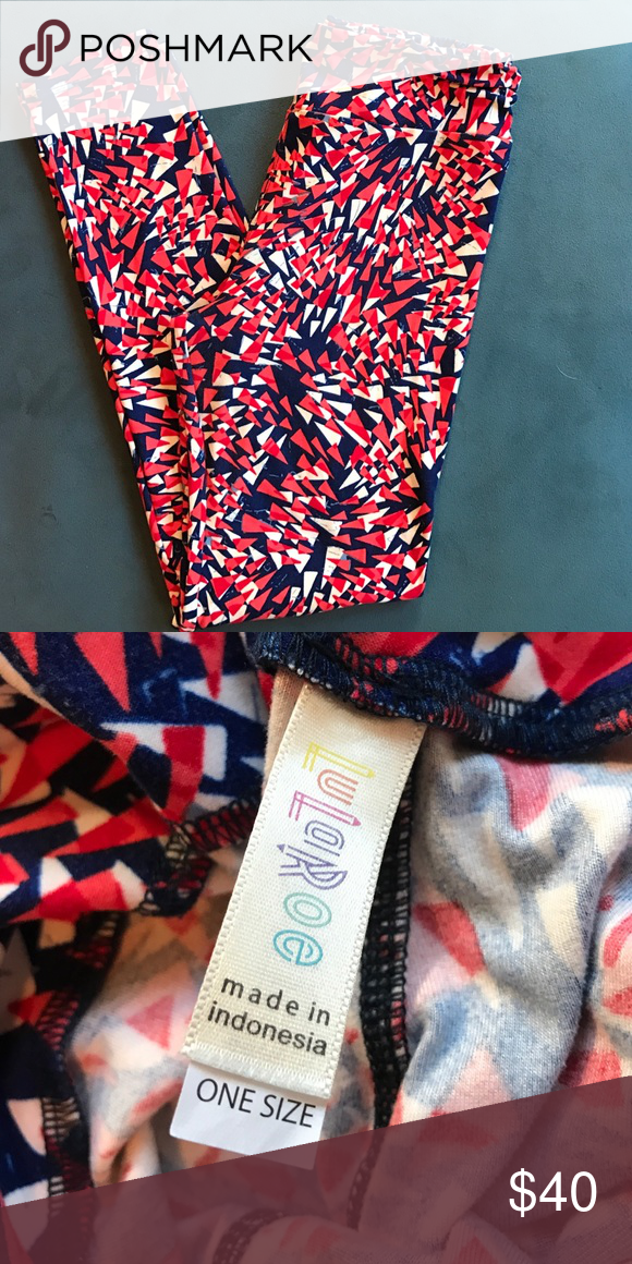 LuLaRoe leggings These are very cute LuLaRoe leggings. Red, White and Blue. They are OS LuLaRoe Pants Leggings