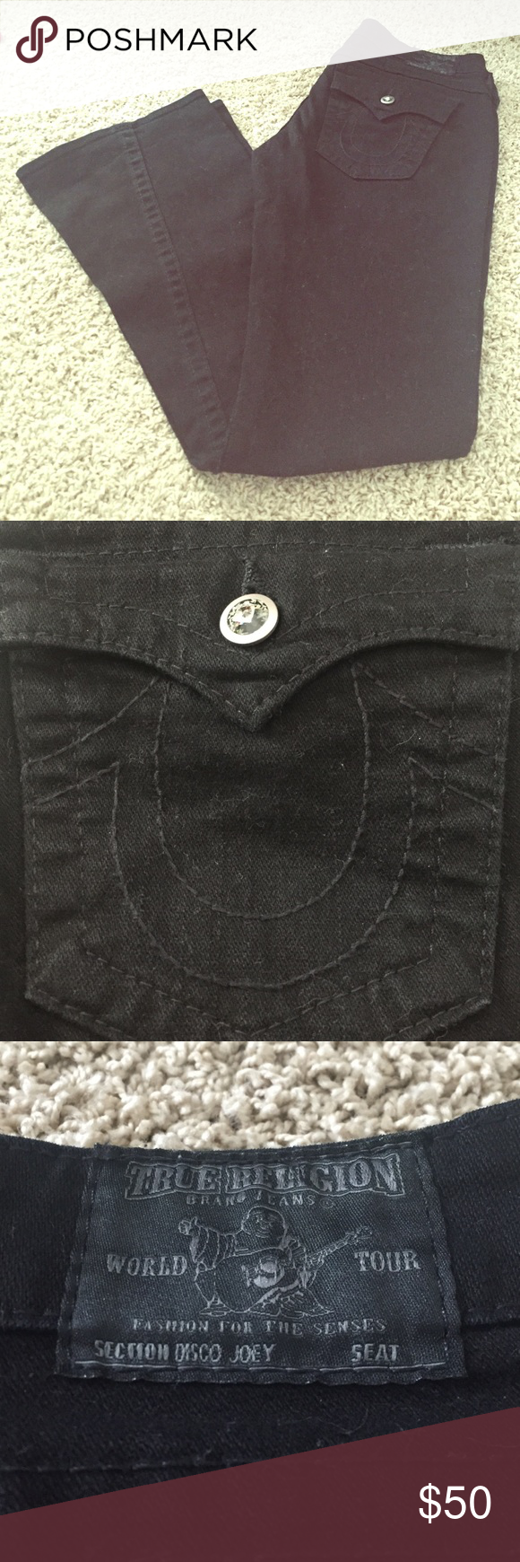 "True Religion Black Disco Joey Jeans Excellent, used condition. Smoke free home. No rips, stains, or odors. Has the cutest buttons/accents! 98% cotton and 2% spandex. Size 29. Approximate Inseam: 32"". True Religion Jeans Flare & Wide Leg"