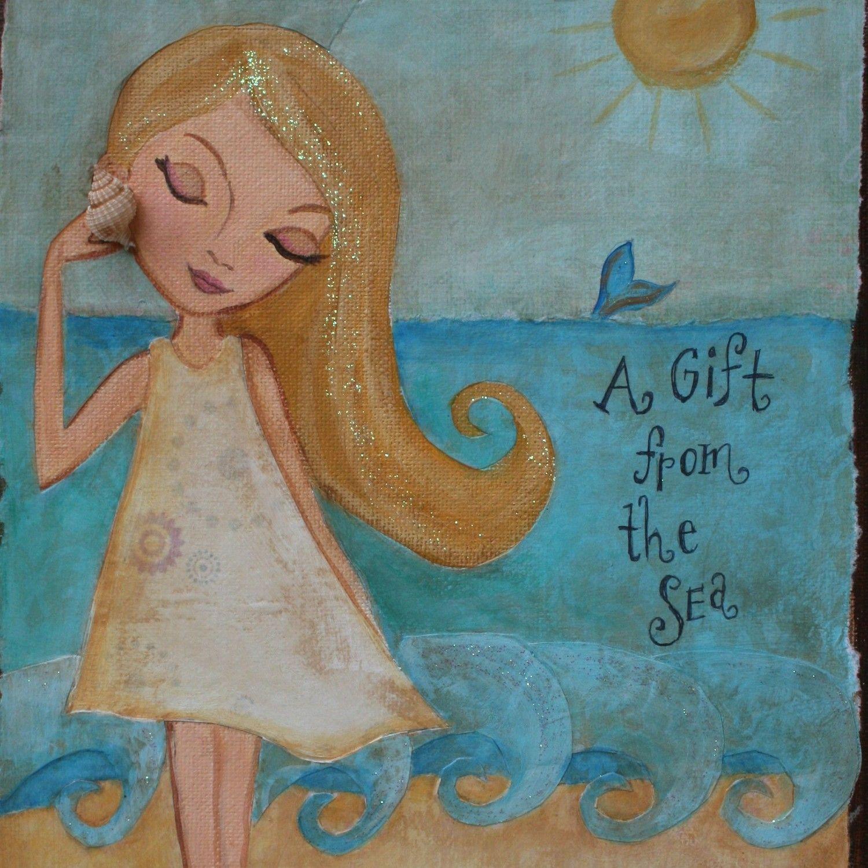 Children Decor Art  Beach Girl Folk Art Print Mixed by hrushton, $18.00
