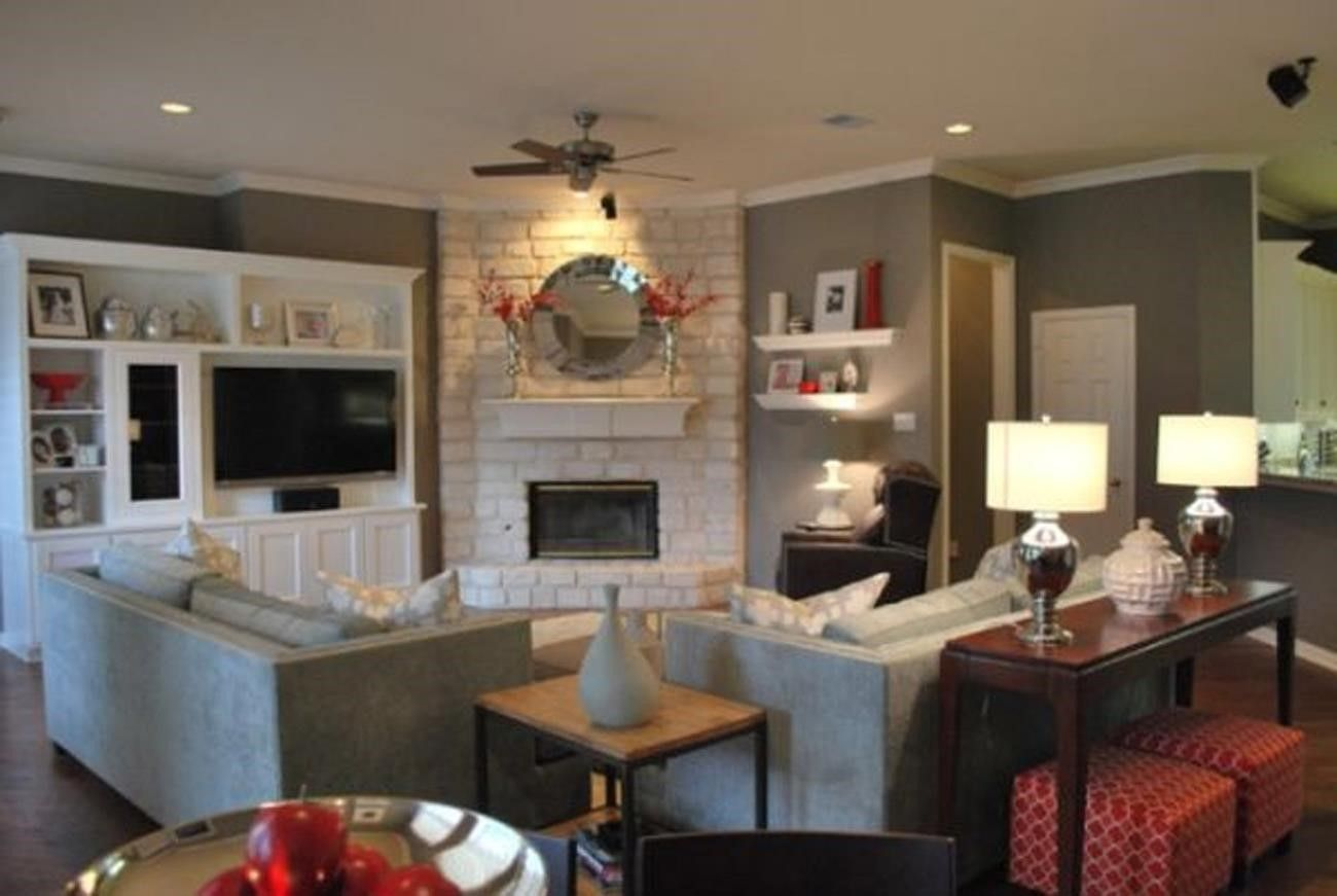 Arrange furniture around a corner fireplace google - Living room with fireplace ...