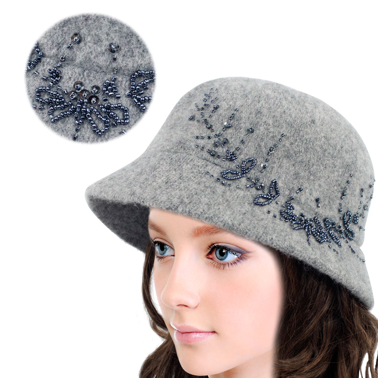 6f7a99cf5b0 Dahlia Women s Wool Blend Hand Beaded Winter Bucket Hat  Cloche Hat ...