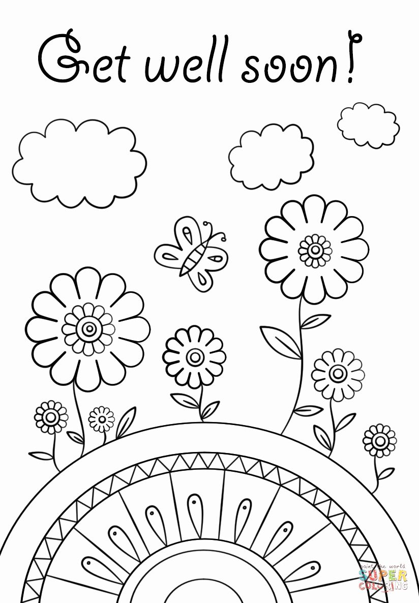 Get Well Soon Card Template Beautiful Get Well Soon Coloring Page Printable Coloring Cards Get Well Cards Free Printable Coloring Pages