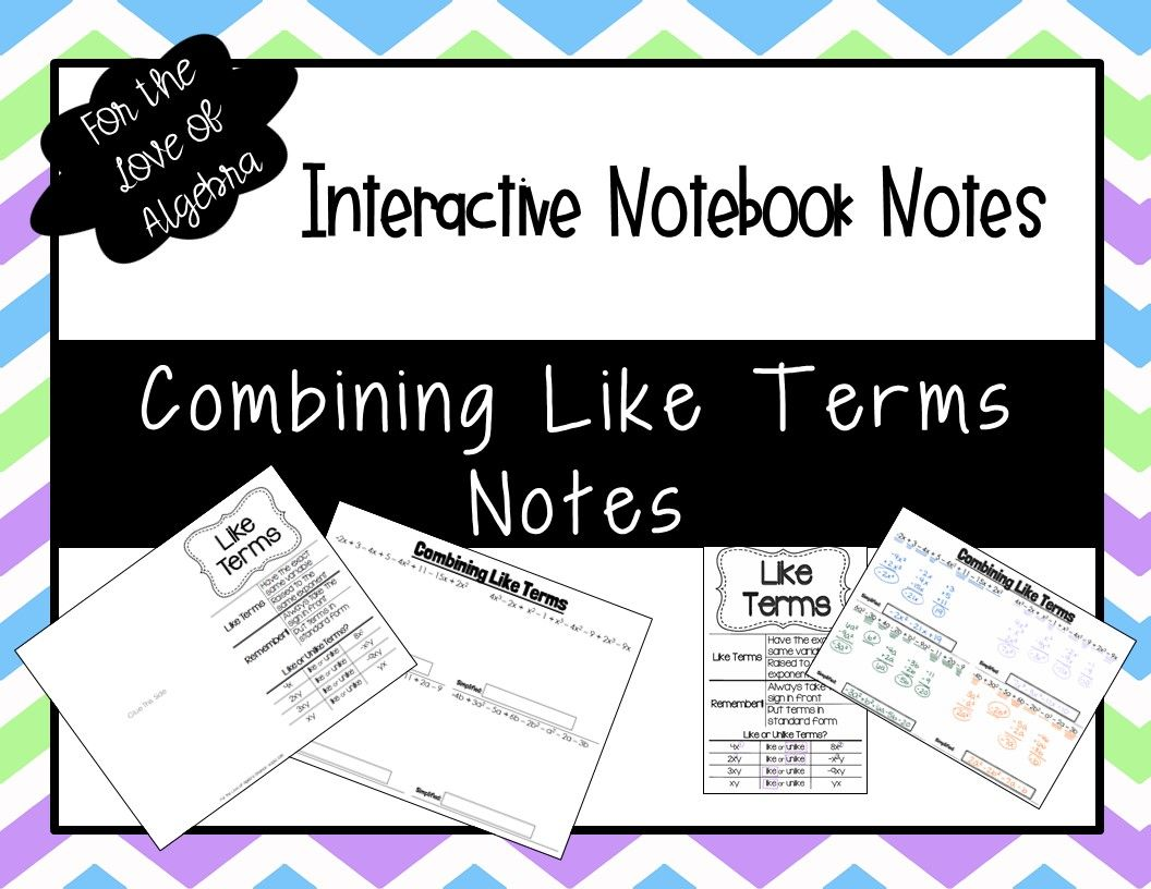 Combining Like Terms Notes Gse Algebra 1 Unit 1 Like Terms Combining Like Terms Interactive Notebooks