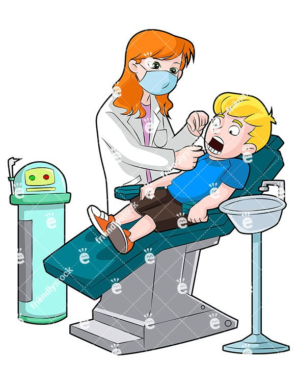 Female Dentist Flossing Teeth Of Boy Cartoon Vector Clipart Friendlystock Tooth Cartoon Cartoons Vector Cartoon Clip Art