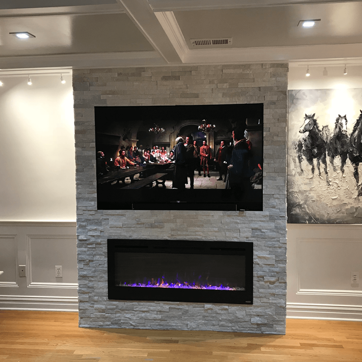 Television Over Fireplace Design Touchstone 50 In 2019 Fireplaces Pinterest Living Room With