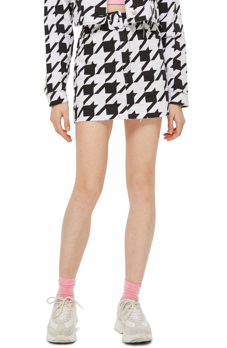 Topshop Dogstooth Denim Skirt Skirts Denim Skirt Topshop